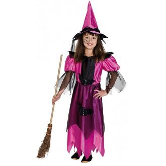 Kostýmy - Půlnoční čarodějka růžová s kloboukem
