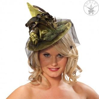 Klobouky, čepice, čelenky - Čarodějnický lux - mini zelený