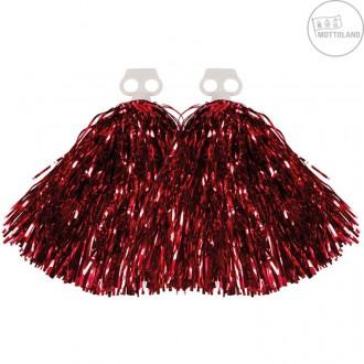 Pompony pro roztleskávačky - Pompony metalické červené - pár