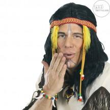 Indiánská paruka pánská s čelenkou a zdobením